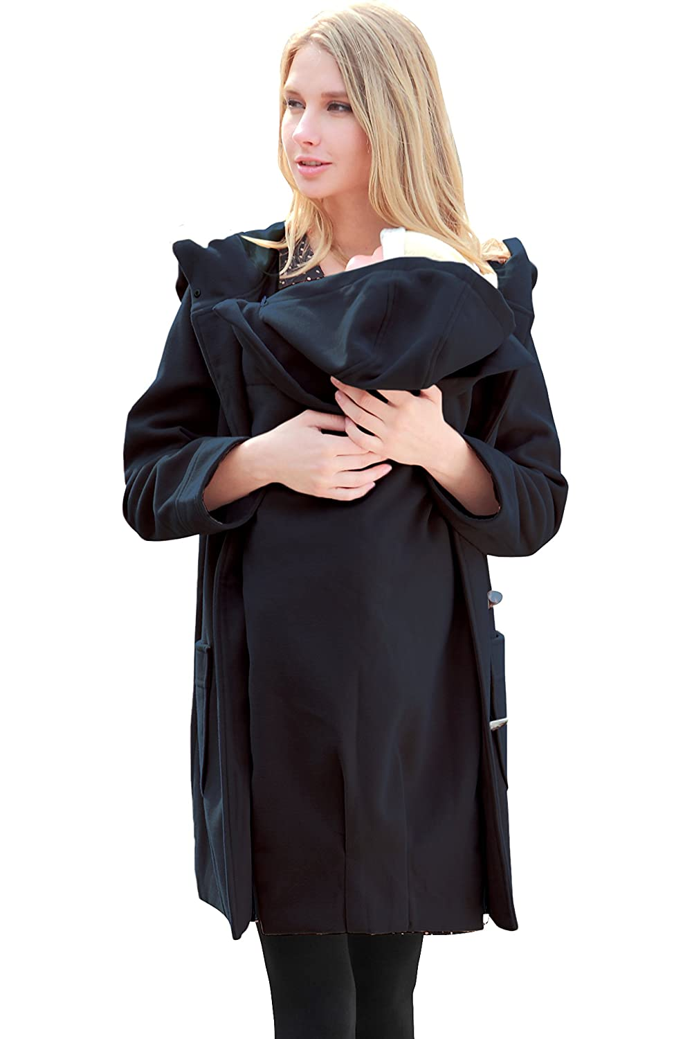 Sweet Mommy Big Hooded Maternity and Mother's Duffle Coat with baby pouch