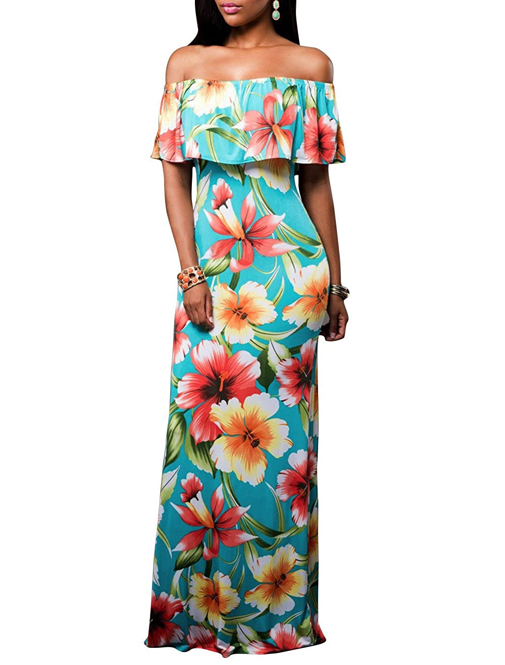 64333b4dd448 Floral Maxi Dress, is a indispensable Symbol in Summer. Off Shoulder,  Ruffle and Close-fitting Design, Let Your Nice Curve Figure to Stand Out  Markedly.