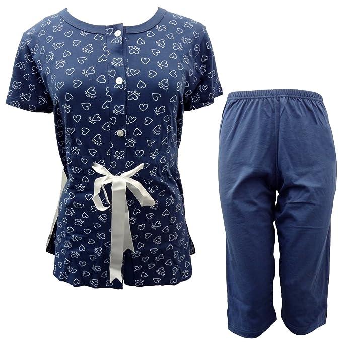 61082978c083 CHARACTER pigiama donna mezza manica pinocchietto in cotone art. P861 (blu,  3/