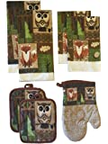 Owl and Fox in Forest 7 Piece Kitchen Towel Set - 2 Towels, 2 Pot Holders, 2 Dishcloths, 1 Oven Mitt