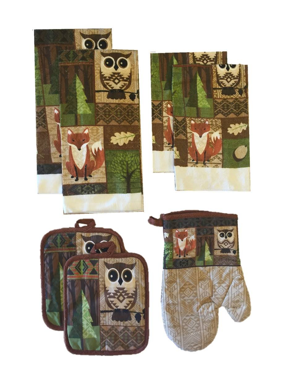 Owl Kitchen Towels | Amazon Com Owl And Fox In Forest 7 Piece Kitchen Towel Set 2