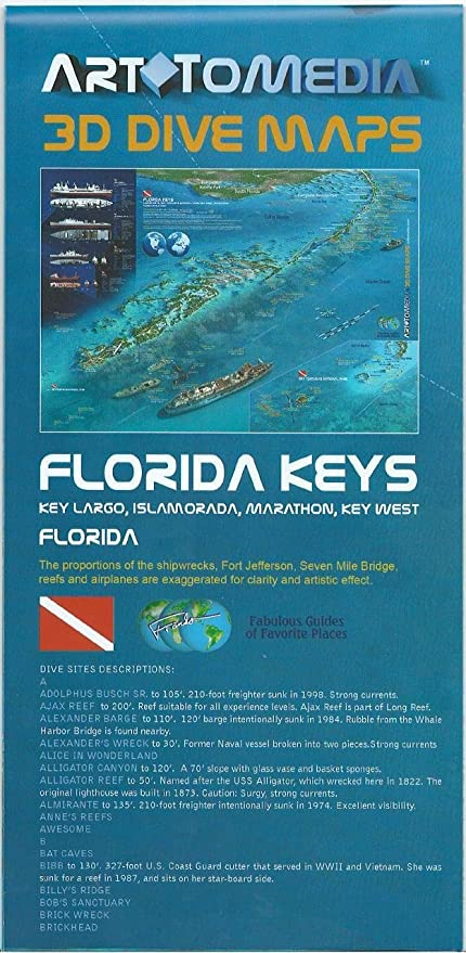 Florida Reefs And Wrecks Map.Amazon Com Florida Keys 3d Dive Maps Key Largo Islamorada Marathon