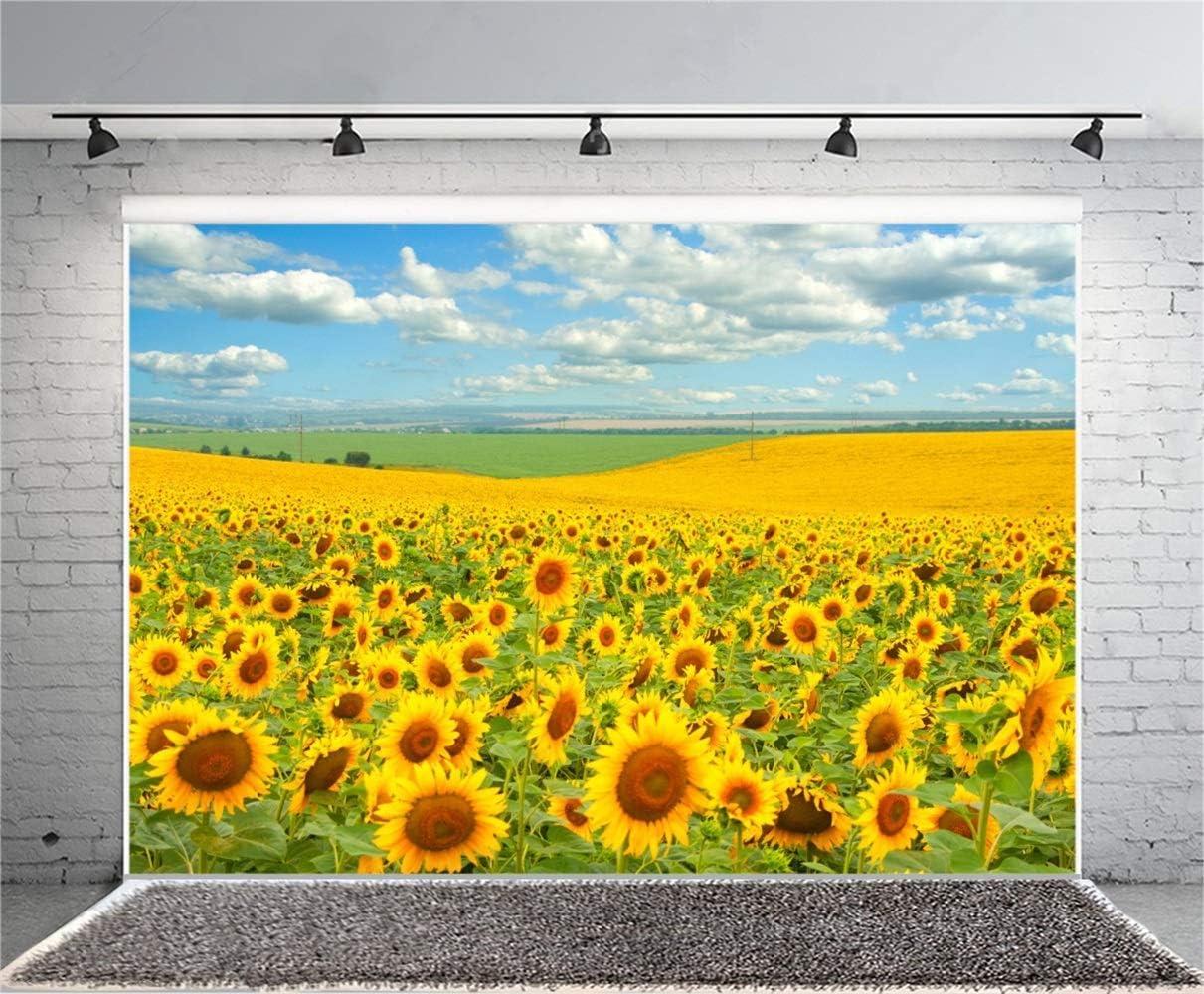 Endless Sunflower Field Scenic Backdrop 10x6.5ft Polyester Boundless Flower Field Grassland Blue Sky Cloud Photography Background Bride Groom Wedding Portrait Shoot Bride Shower Banner Wallpaper