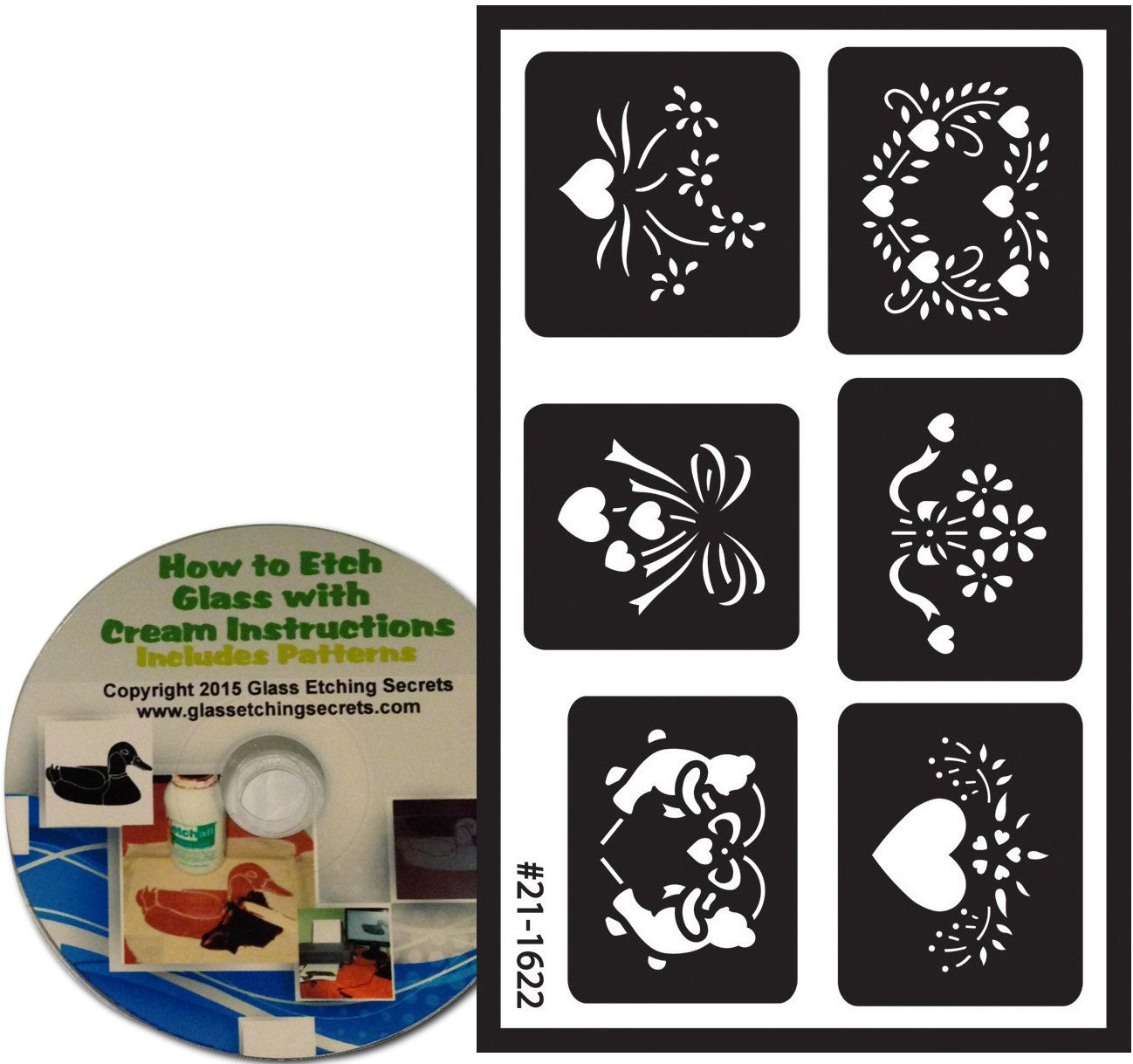 Assorted Heart Stencils, Armour Etch Over N Over Reusable + Free How to Etch CD Armour Products