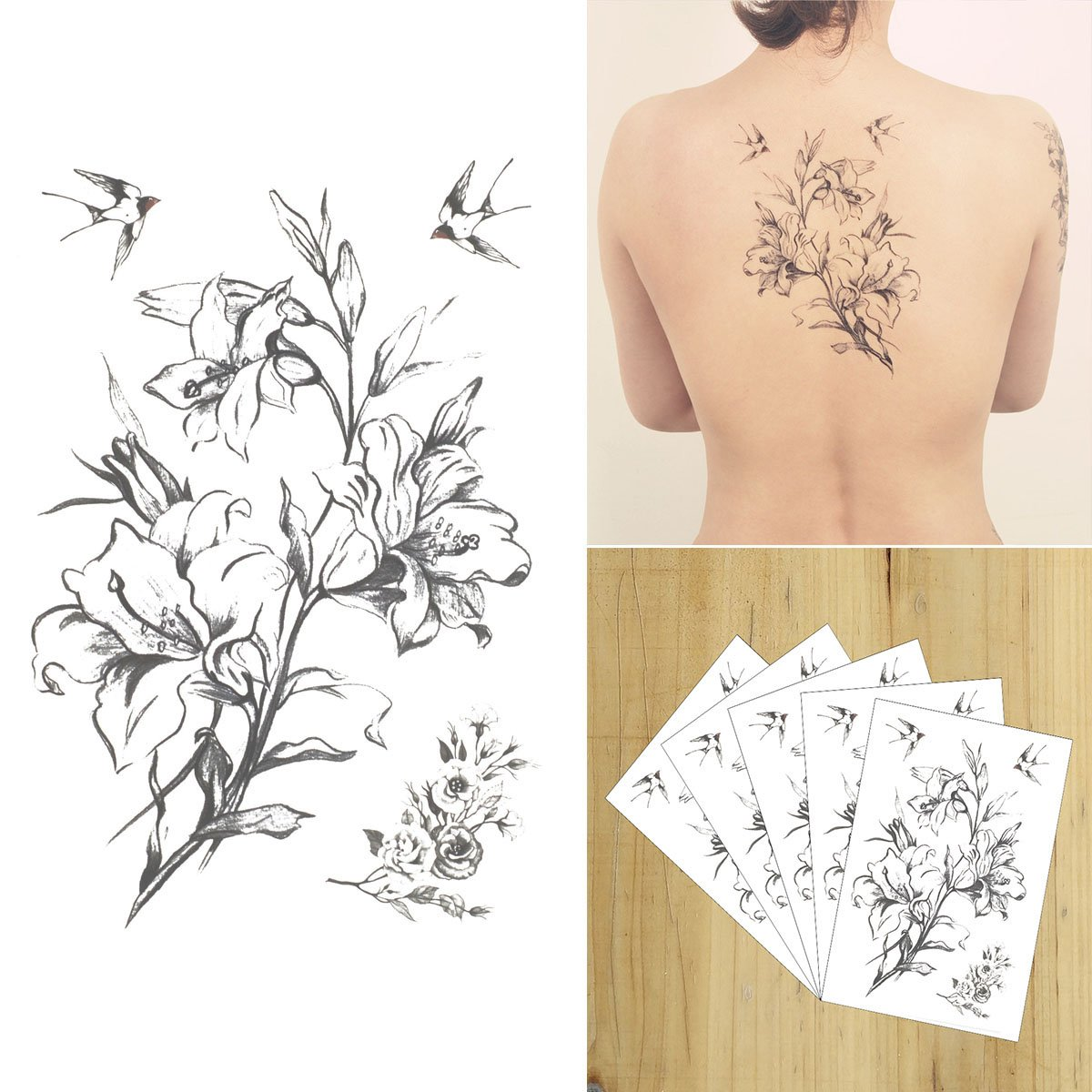 COKOHAPPY 5 Sheets HDrawn Rose Floral Flower Black & White Temporary Tattoo