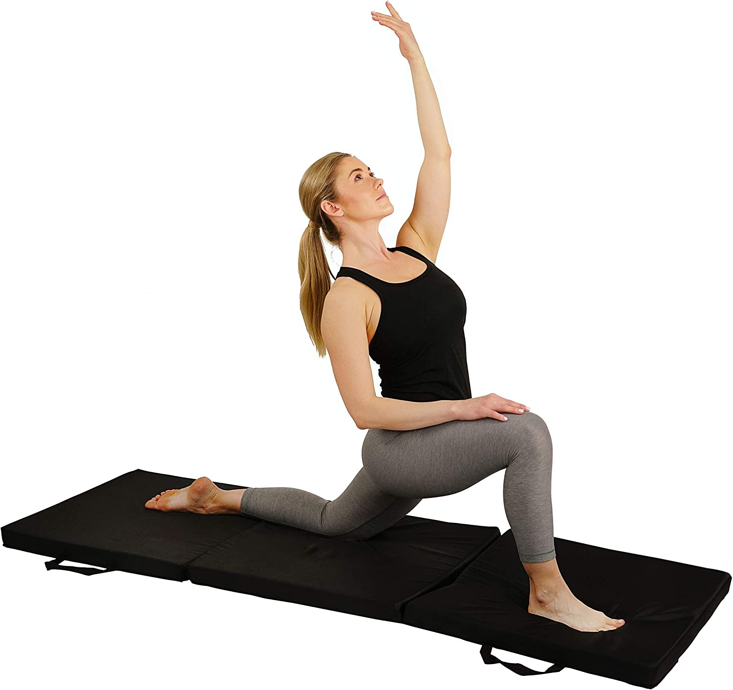 Sunny Health & Fitness Folding Gymnastics Mat - Extra Thick with Carry Handles - for Exercise, Yoga, Fitness, Aerobics, Martial Arts, Gym Mat, Cardio, Tumbling (6 FT x 2 FT) : Gymnastics Mat : Sports & Outdoors