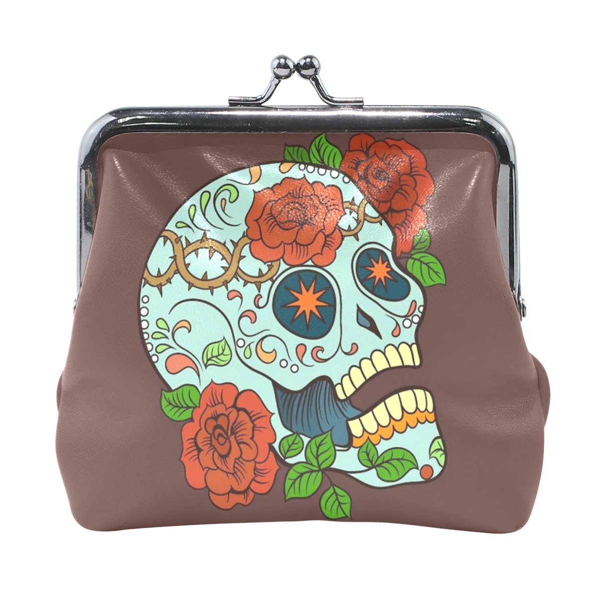 Vipsk mom gift ideas Gothic Rose and Skull PU Leather Wallet Card Holder Coin Purse Clutch Handbag OneSize