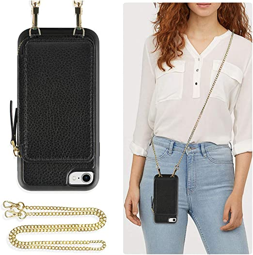 Smartphone Necklace Case with Strap ZhinkArts Crossbody Phone Case for Apple iPhone 7//8 // SE Neck Holder in Black Reflective 2020 - Phone Cover with Neckstrap
