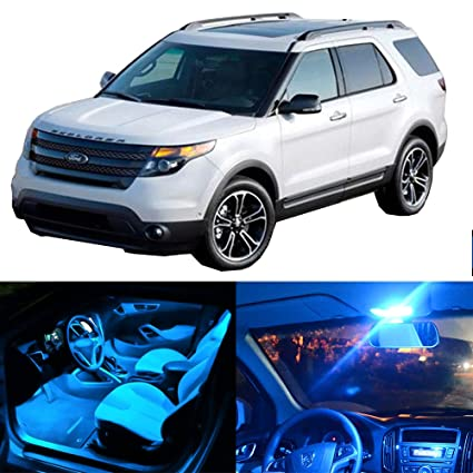 pack ice blue led bulb led interior lights accessories replacement  package kit replacement fit for 2015-2017 replacement fit ford explorer:  automotive