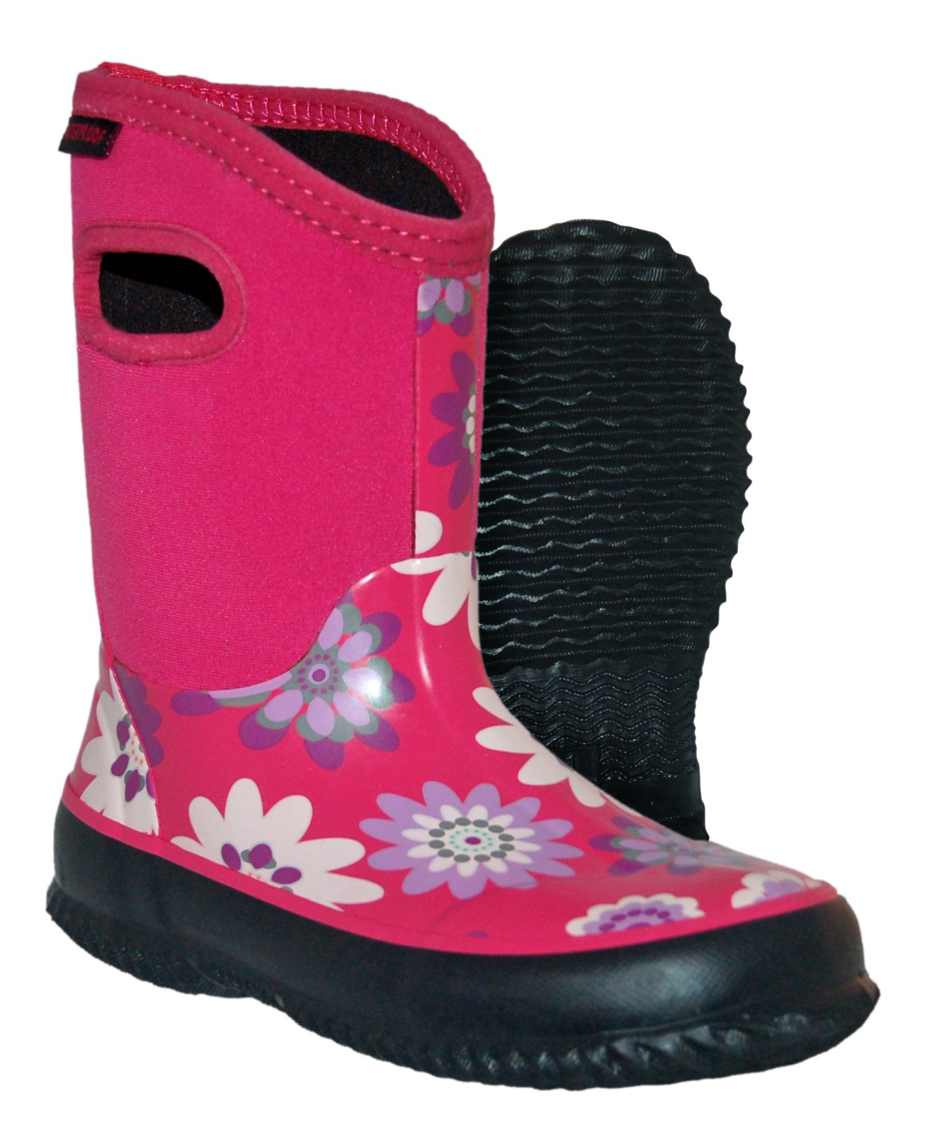 Itasca Girls Youth Bayou Rubber/Neoprene Waterproof Boots Rain, Pink Flowers, 6.0 Standard US Width US Big Kid