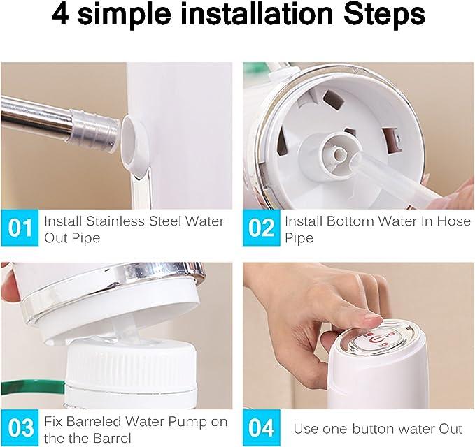 Bomba de Agua el/éctrica Barreled Automatico Carga USB Port/átil Con un Solo Bot/ón Dispensador de la Bomba del Agua Potable para el hogar Oficina