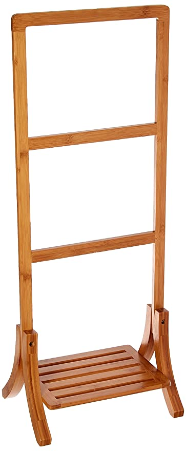 Organize It All Natural Bamboo 3 Tier Free Standing Bathroom Towel Rack  Storage