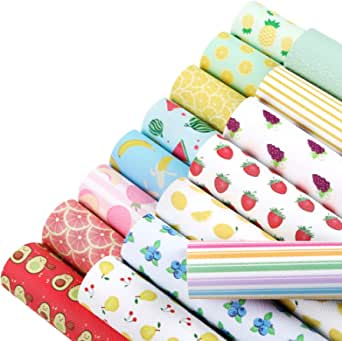 Caydo 16 Pieces Fruit Food Theme Faux Leather Sheets for Leather Earring and Hair Bow Head Band Making (A5 Size)