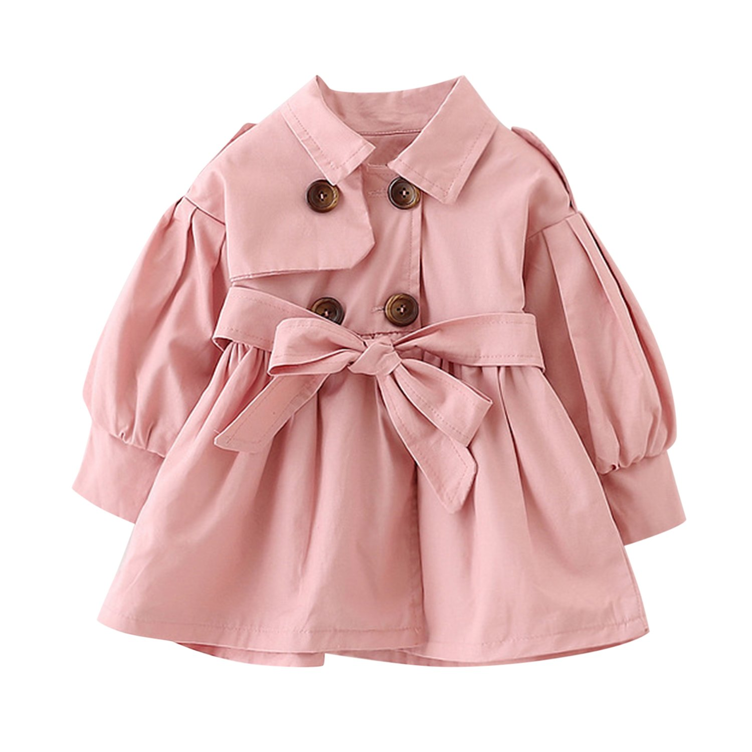 Evelin LEE Baby Girls Trench Coat Jacket Dress With Belt Ruffle Waist Windbreaker Outwear