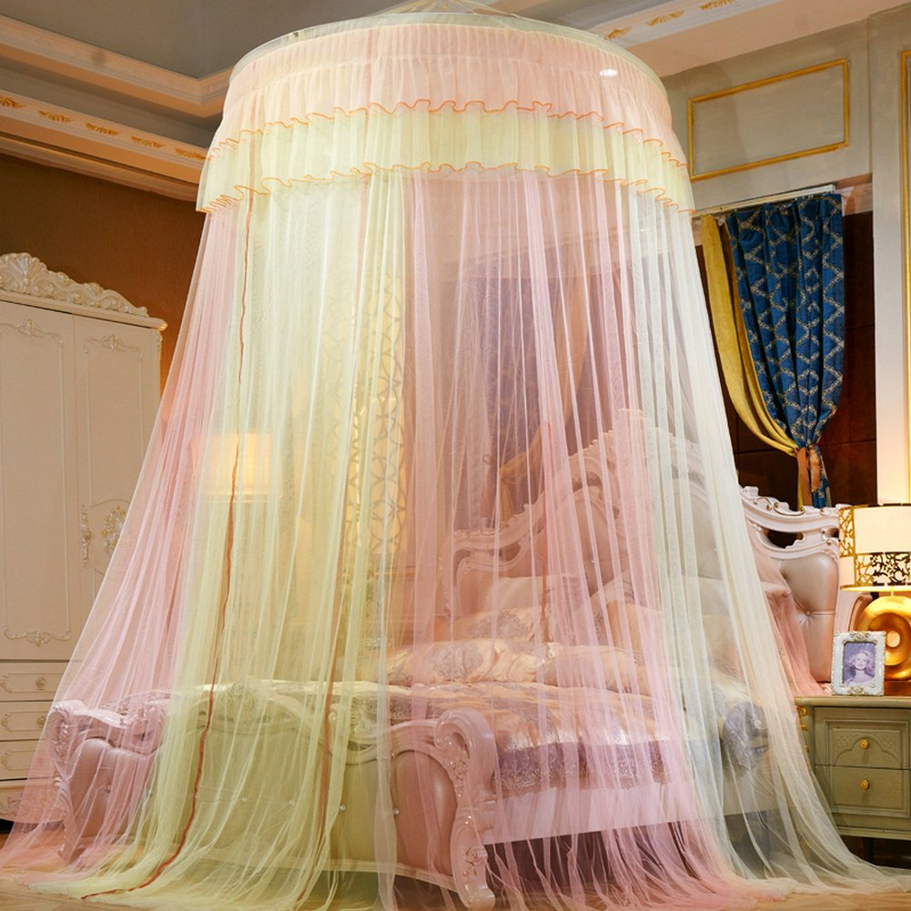 TYMX Mosquito Net Canopy Insect Netting Princess Butterfly Dome Bed Lace Tents Diameter 1.2M Adult Baby Kids Bedroom Games Anti-Mosquito And Insect-Proof Mosquito Nets Fit Crib Twin Full Large Bed Yellow