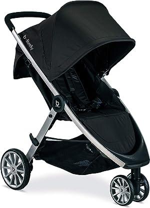 BRITAX B-Lively Lightweight Stroller, Raven | One Hand, Easy Fold + Infinite Recline + Front Access Storage + Peekaboo Window