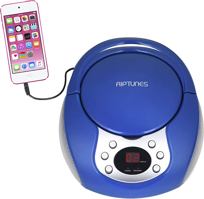 RipTunes CD Player Boombox- Portable Blue Aux-in CD Boombox, AM/FM Radio for Assured Amusement