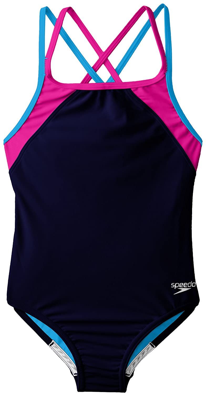 7e5c7ede7 Speedo Big Girls  Youth Solid Splice Cross-Back One-Piece Swimsuit ...