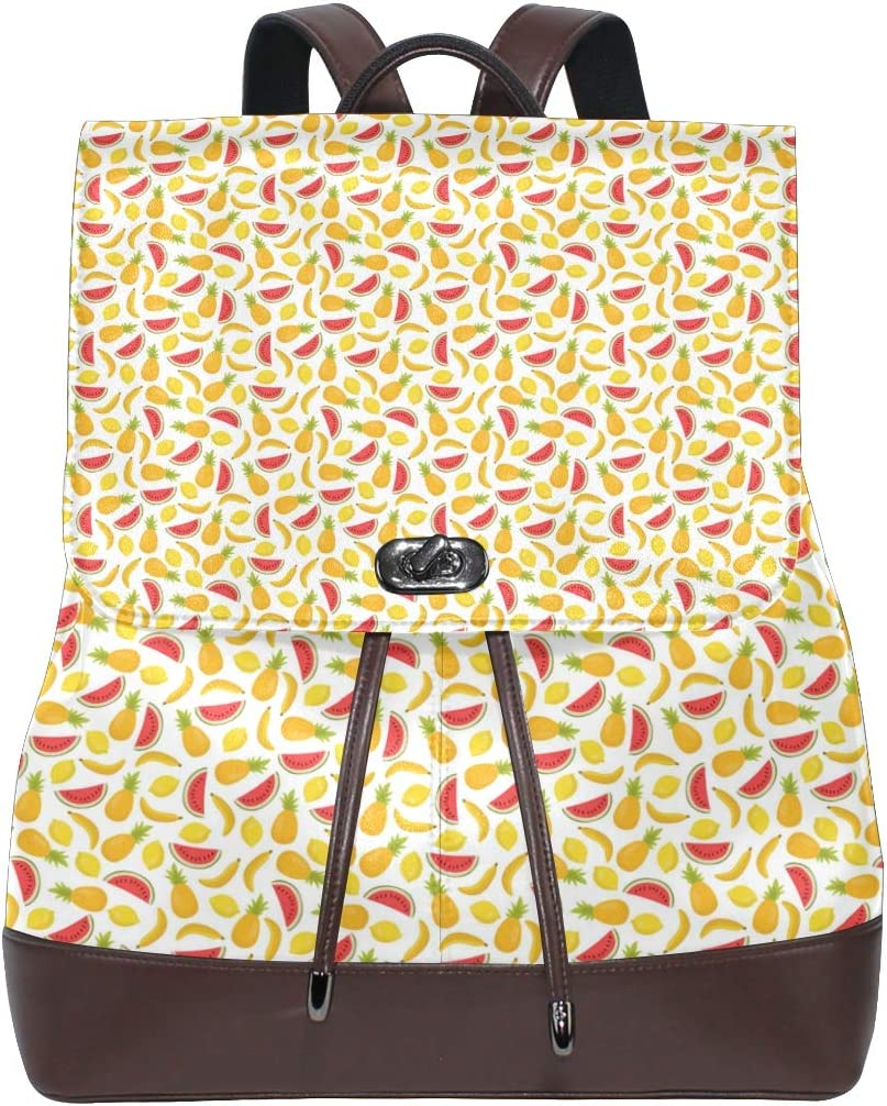 Leather Seamless Pattern With Bananas Pineapples And Vector Backpack Daypack Bag Women