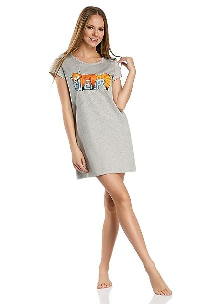 oodji Ultra Mujer Vestido de Algodón de Estar por Casa con Estampado, Gris, ES 36 / XS: Amazon.es: Ropa y accesorios