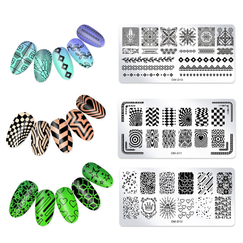 Nail Art Stamp Stamping Templates Stamper Scraper Kit Manicure Template Nail Art Tools 3pcs(OM-D10、OM-D11、OM-D12) Rocita