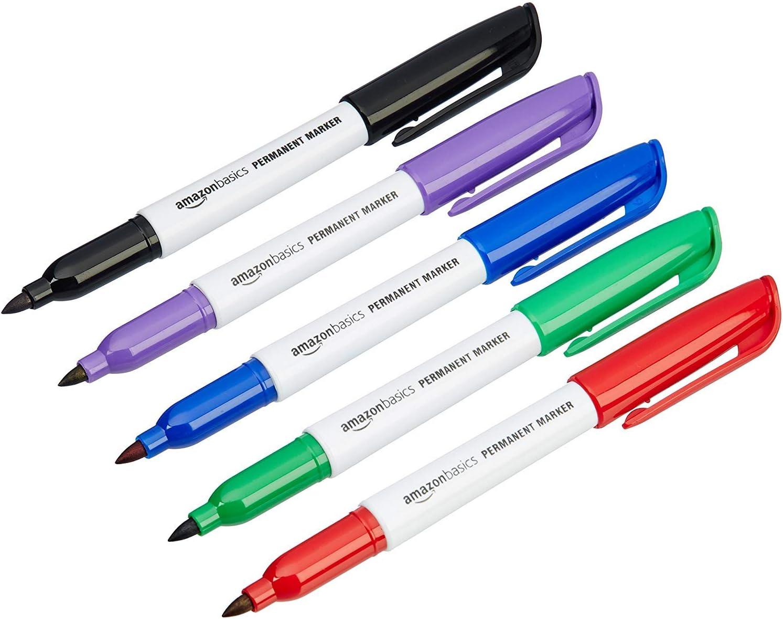 AmazonBasics - Rotuladores permanentes - Varios colores - Pack de 12: Amazon.es: Oficina y papelería