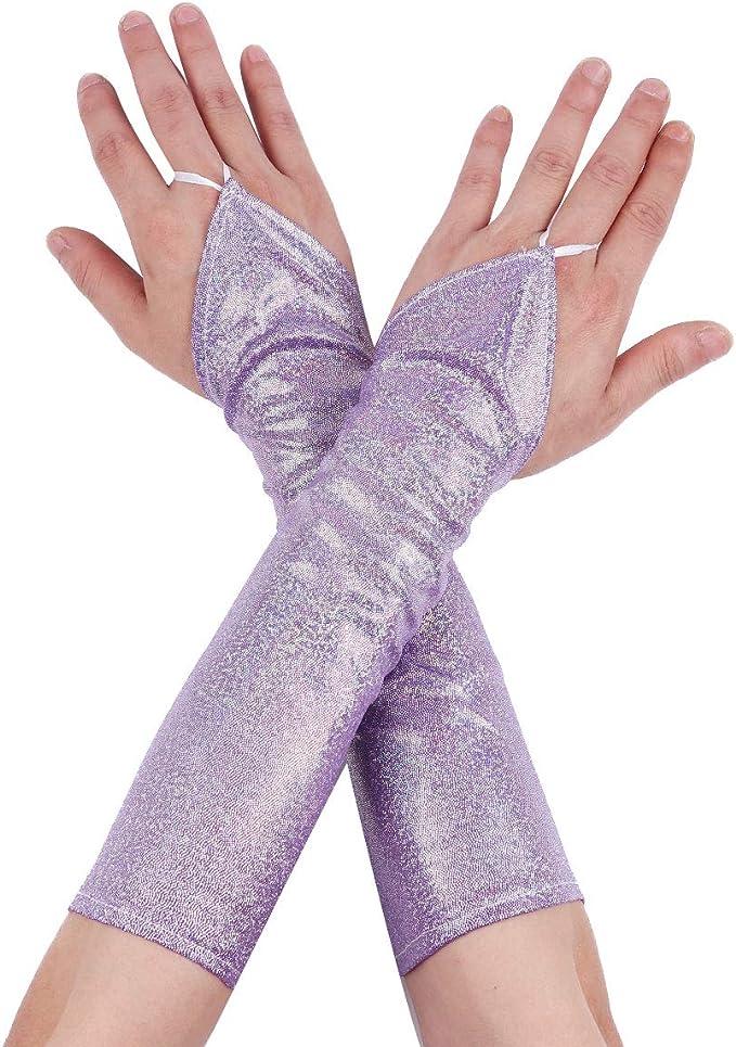 Damen Kunstleder Glanz Wetlook Handschuhe Lange Armstulpen Fingerlose Gloves