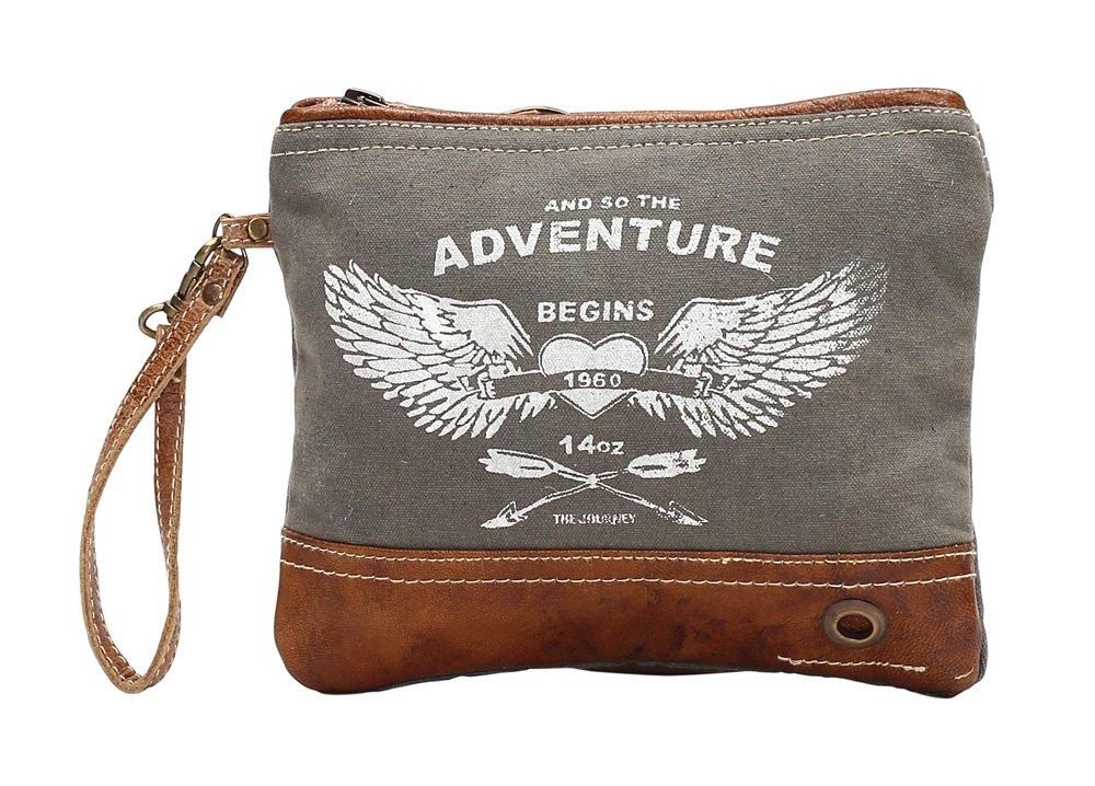 Myra Bag Adventure Begins Upcycled Canvas Wristlet Bag S-1020