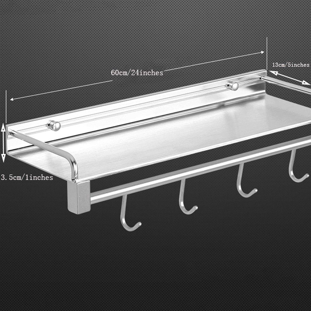 YXN Space Aluminum Bathroom Shelf Bathroom Solid Thick Metal Pendant Bathroom Single Layer With Hook Corner Frame (Size : 60cm)