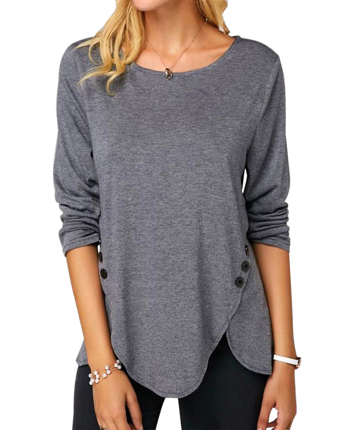Disi Women\'s Button Round Neck T- Shirt Slim Long Sleeve Top Front Side Split Causal Pullover Blouses Basic Tunic 灰 M Gray