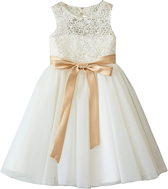 Champagne Tulle Lace Flower Girl Dress Wedding Bridesmaid Dress M0047