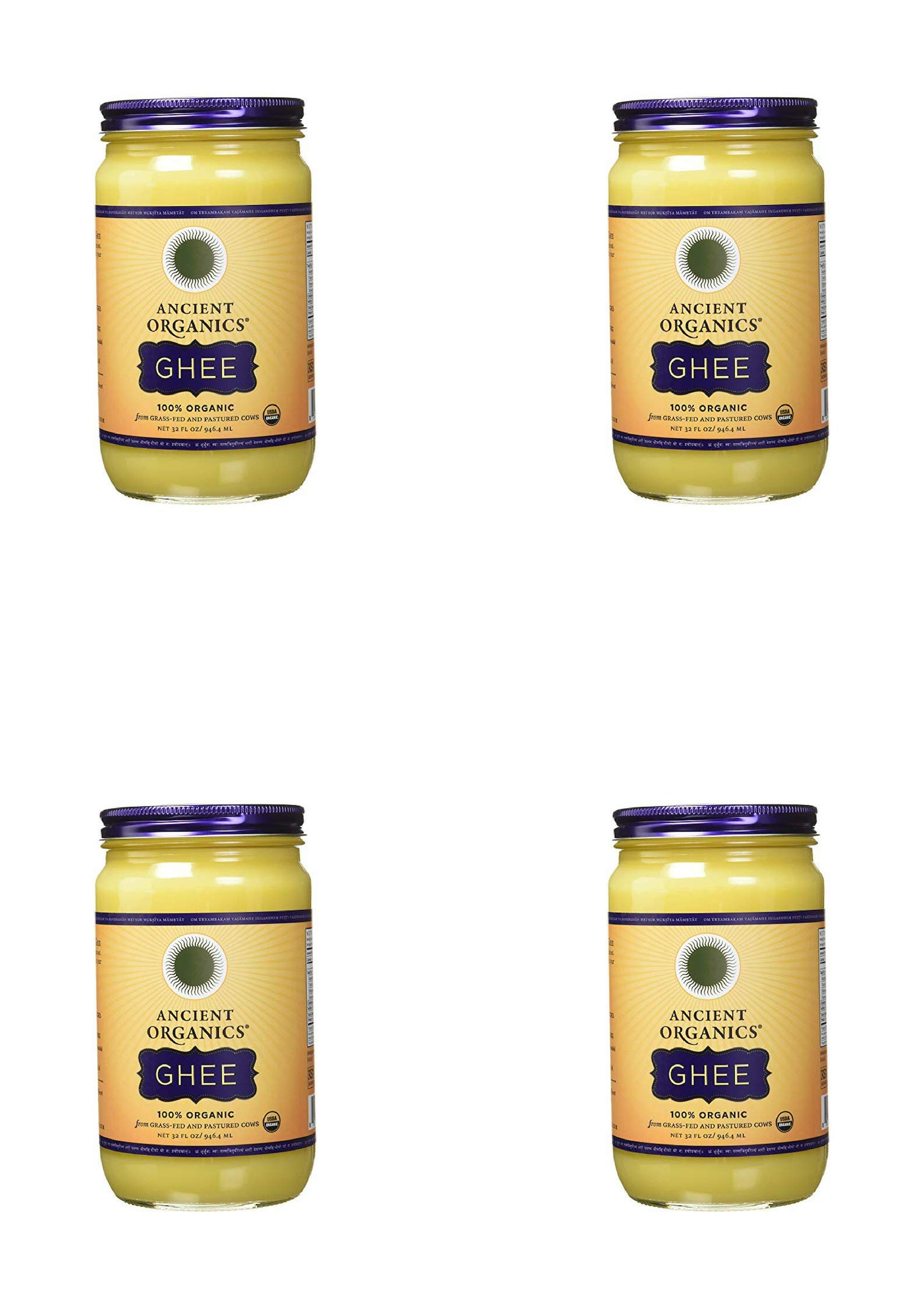 ANCIENT ORGANICS 100% Organic Ghee from Grass-fed Cows, 32oz (4 pack)