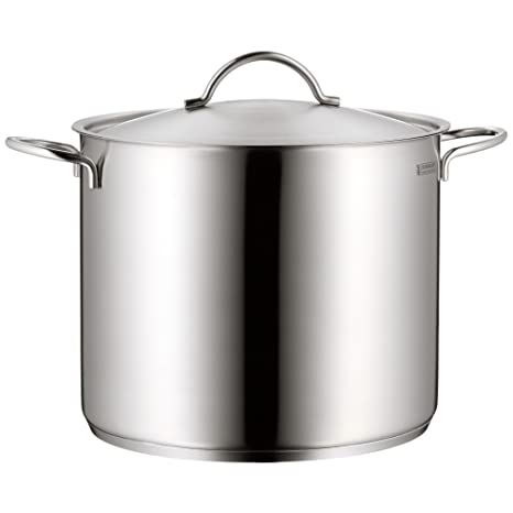 WMF Neutral Olla Alta con Tapa, Acero Inoxidable Mate, 28 cm