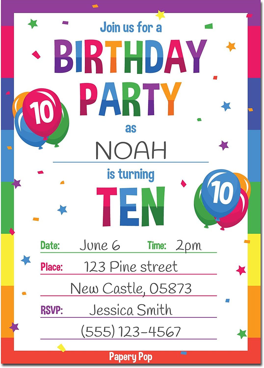 Papery Pop 5th Birthday Party Invitations with Envelopes (5