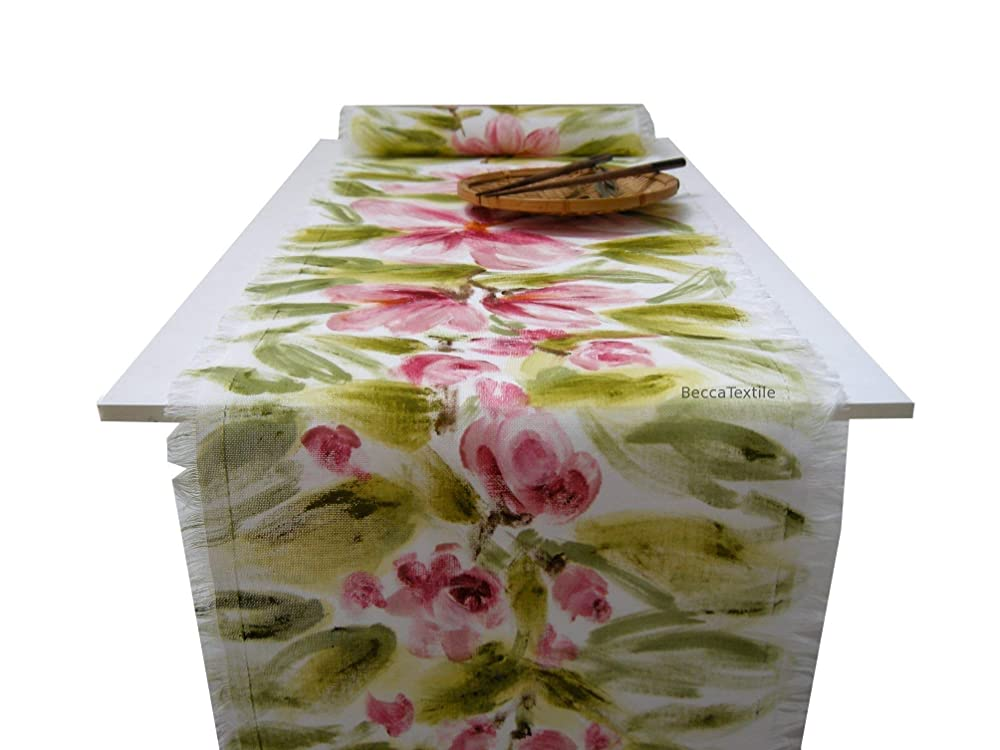 Camino de mesa flores pintadas,Manteles originales, BeccaTextile ...