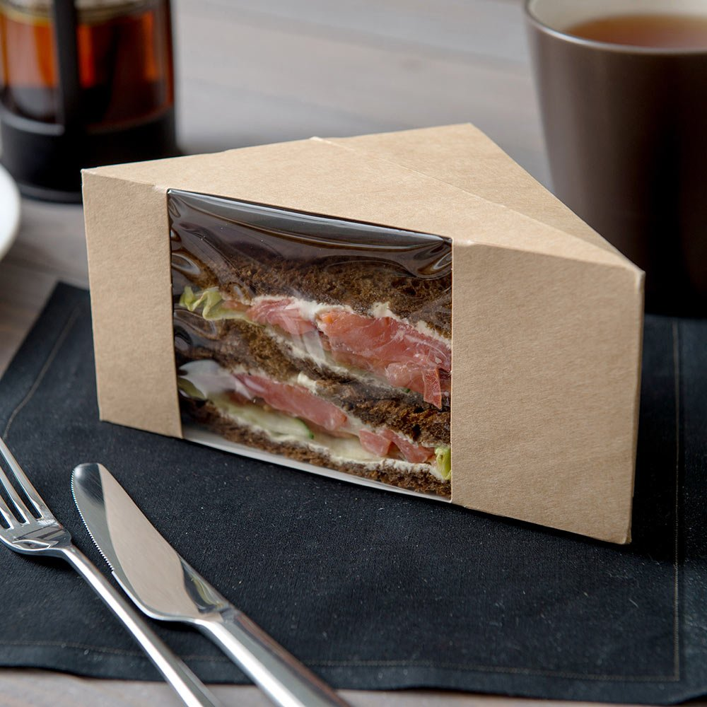 Large Sandwich Wedge Box, Sandwich Take Out Box - 4.8'' x 3.2'' Triangle Sandwich Box with Window - Brown - 200ct Box - Restaurantware by Restaurantware (Image #2)