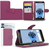 Purple Vodafone Smart Ultra 7 Case Durable PU Leather Book Style Wallet Cover with Credit / Business Card Holder and Horizontal Viewing Stand