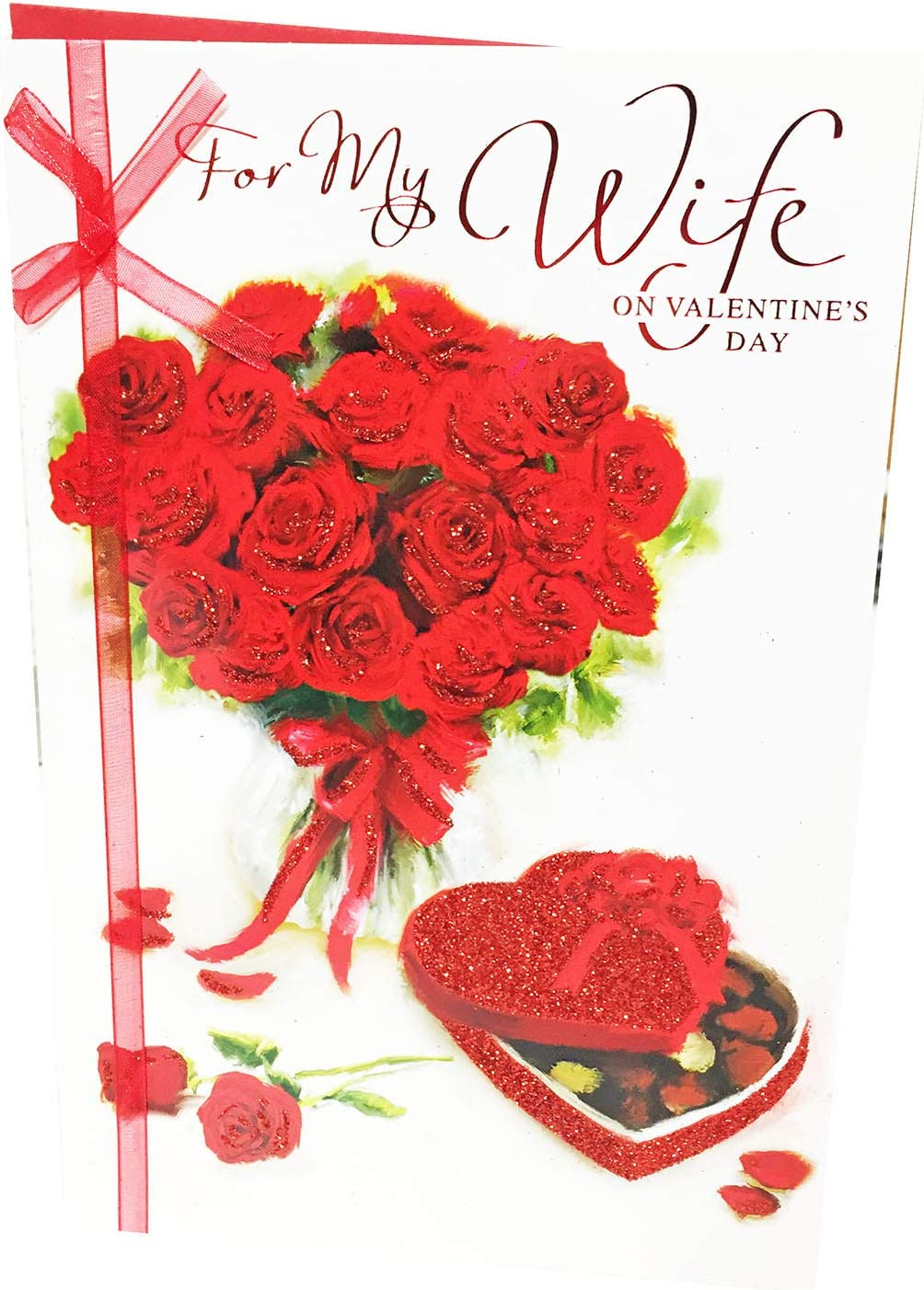 Wife Valentines Day Card Rose Gift Card for Her Wife Valentines Gifts Romantic Wife Valentines Day Card Rose Valentines Gifts Large Wife Card with Verse Valentines Day Card Wife Large