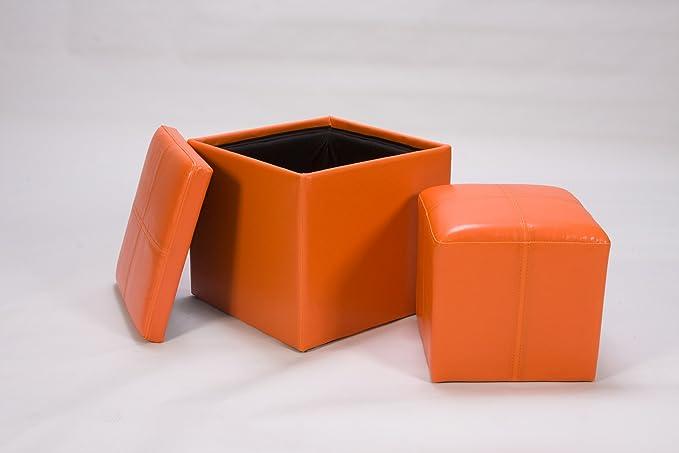 Homelegance Homelegance Ladd Storage Ottoman with Stool Bi-Cast Vinyl Orange