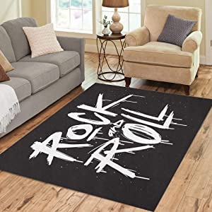 Pinbeam Area Rug Old Sketch Rock and Roll Rock`N`Roll Tattoo Text Home Decor Floor Rug 3' x 5' Carpet