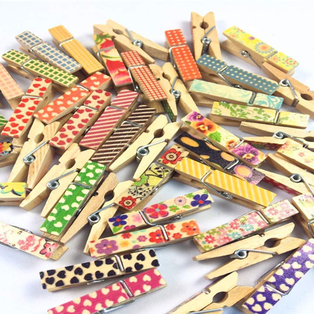 Fornateu 50pcs Modello colorato Piccola Legno delle Spine della Foto Note di Lino Rope Stampaggio Mini Clip