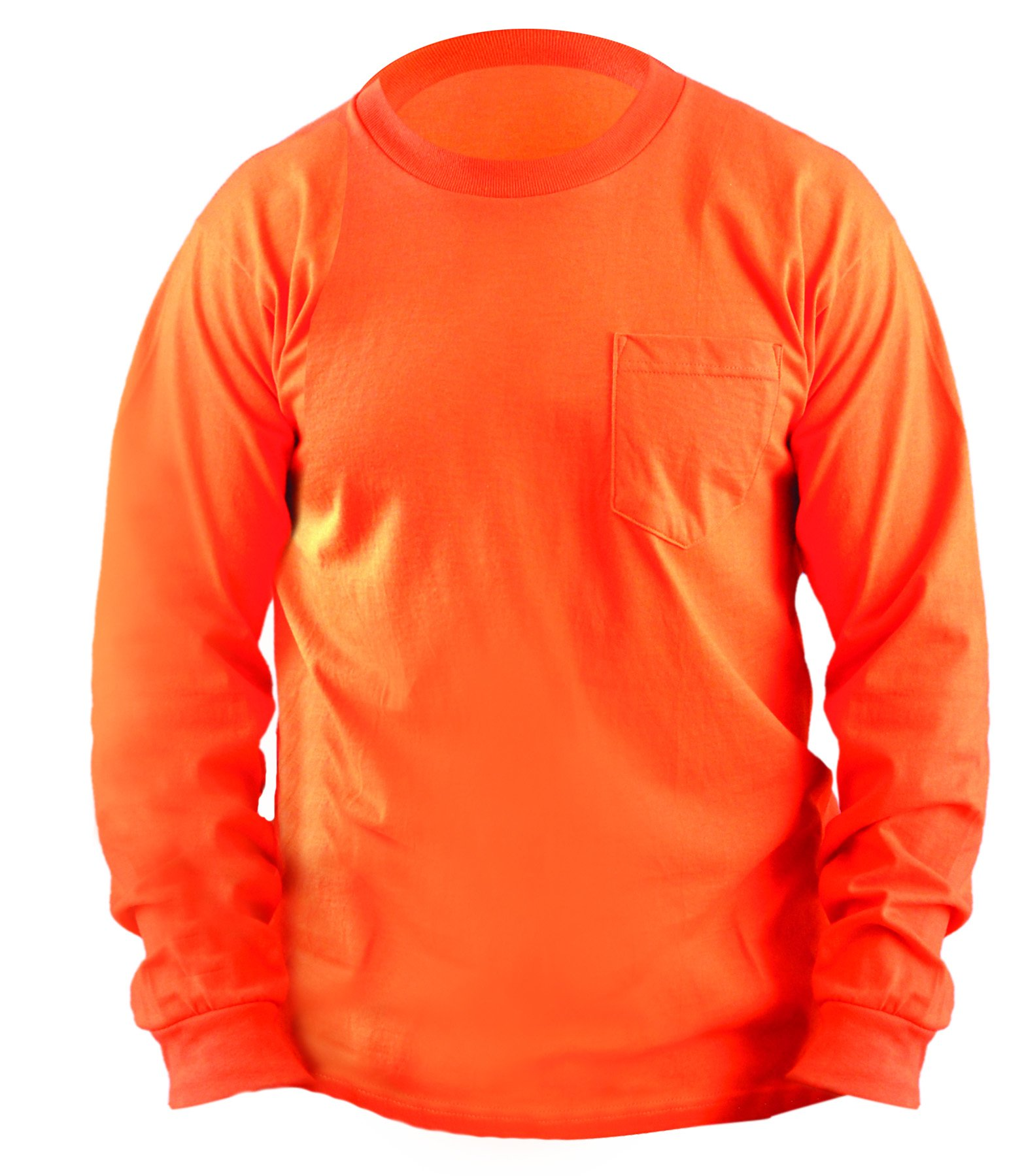 OccuNomix LUX-300LP-07L Classic Long Sleeve 100% Pre-Shrunk Cotton T-Shirt with Pocket, Non-ANSI, Large, Orange (High Visibility)