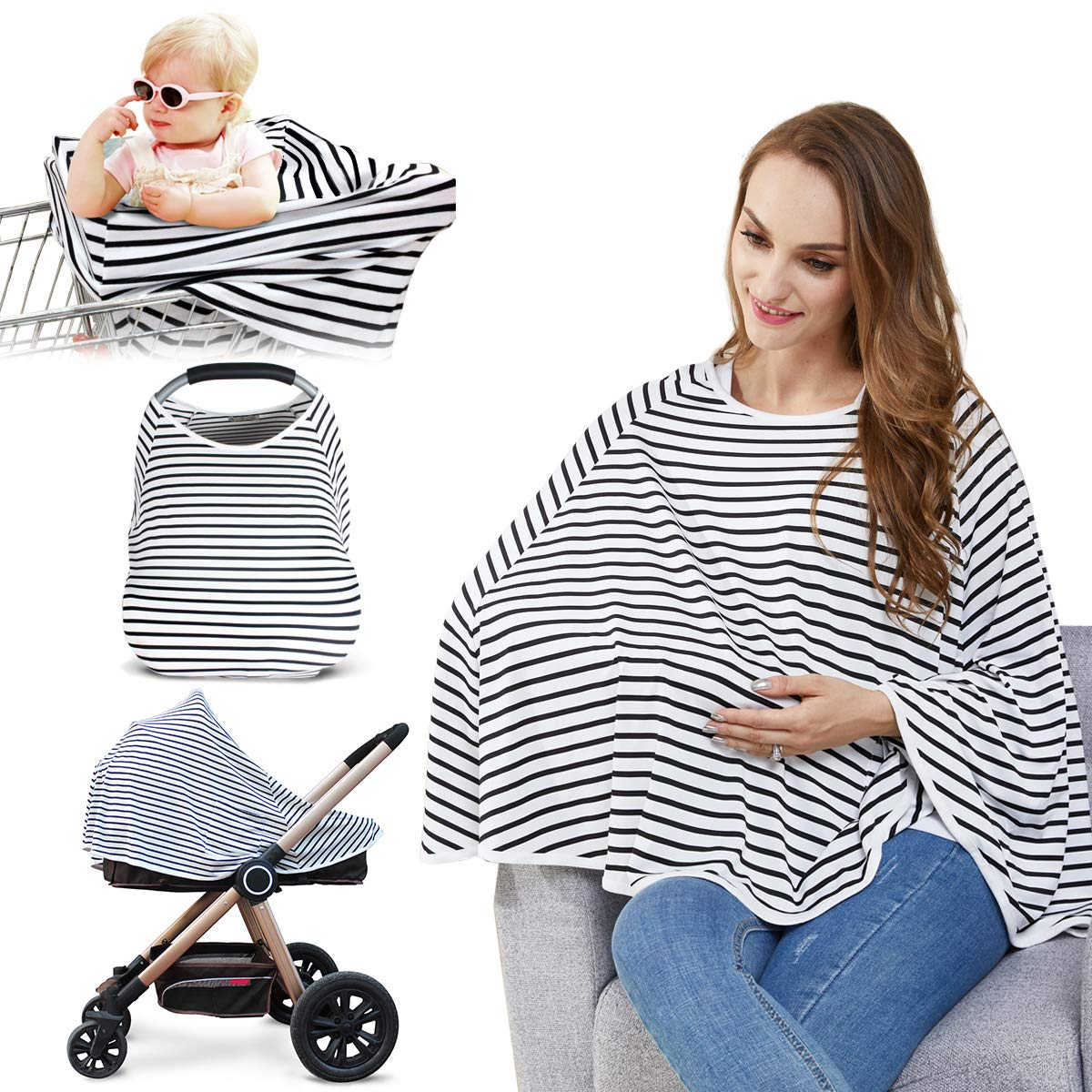 Baby Nursing Cover & Nursing Poncho - Multi Use Cover for Baby Car Seat Canopy, Shopping Cart Cover, Stroller Cover, 360° Full Privacy Breastfeeding Protection, Baby Shower Gifts for Boy&Girl by Kefee Kol