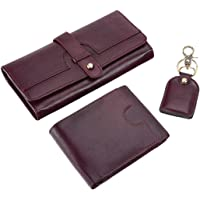Borse Women's Cherry Goat Leather Purse and Men's Wallet & Key Chain - Gift for Couple - Gift for Valentine Day