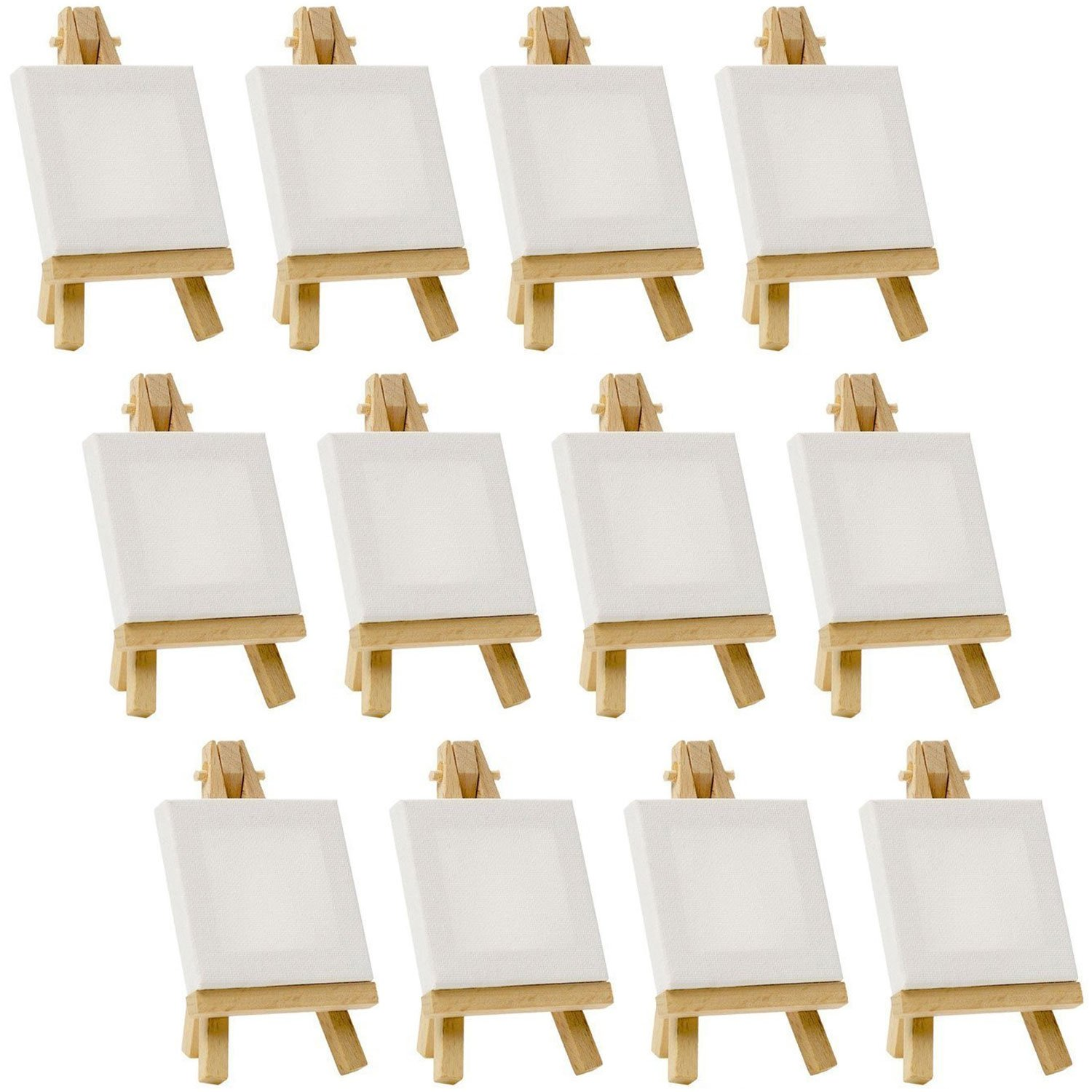 US Art Supply Artists 3''x3'' Mini Canvas & 5'' Mini Easel Set Painting Craft Drawing - Set Contains: 12 Mini Canvases & 12 Mini Easels