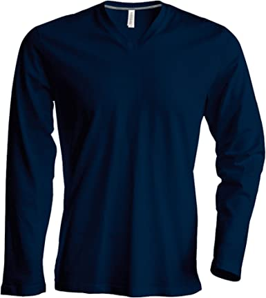 Kariban - Camiseta Básica entallada con cuello de pico o V de ...