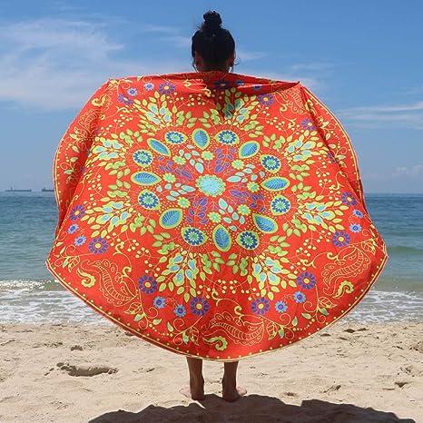 general3 Alfombra de Juegos Redonda, Toalla de Playa Bohemio Estampado Floral para Verano, Traje