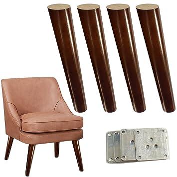 4 patas de madera para sofá de 30,5 cm, acabado en nogal ...