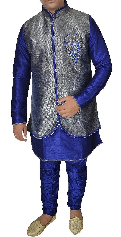 INMONARCH Mens Wonderful Blue Kurta Pyjama with Jacket DK2703Z