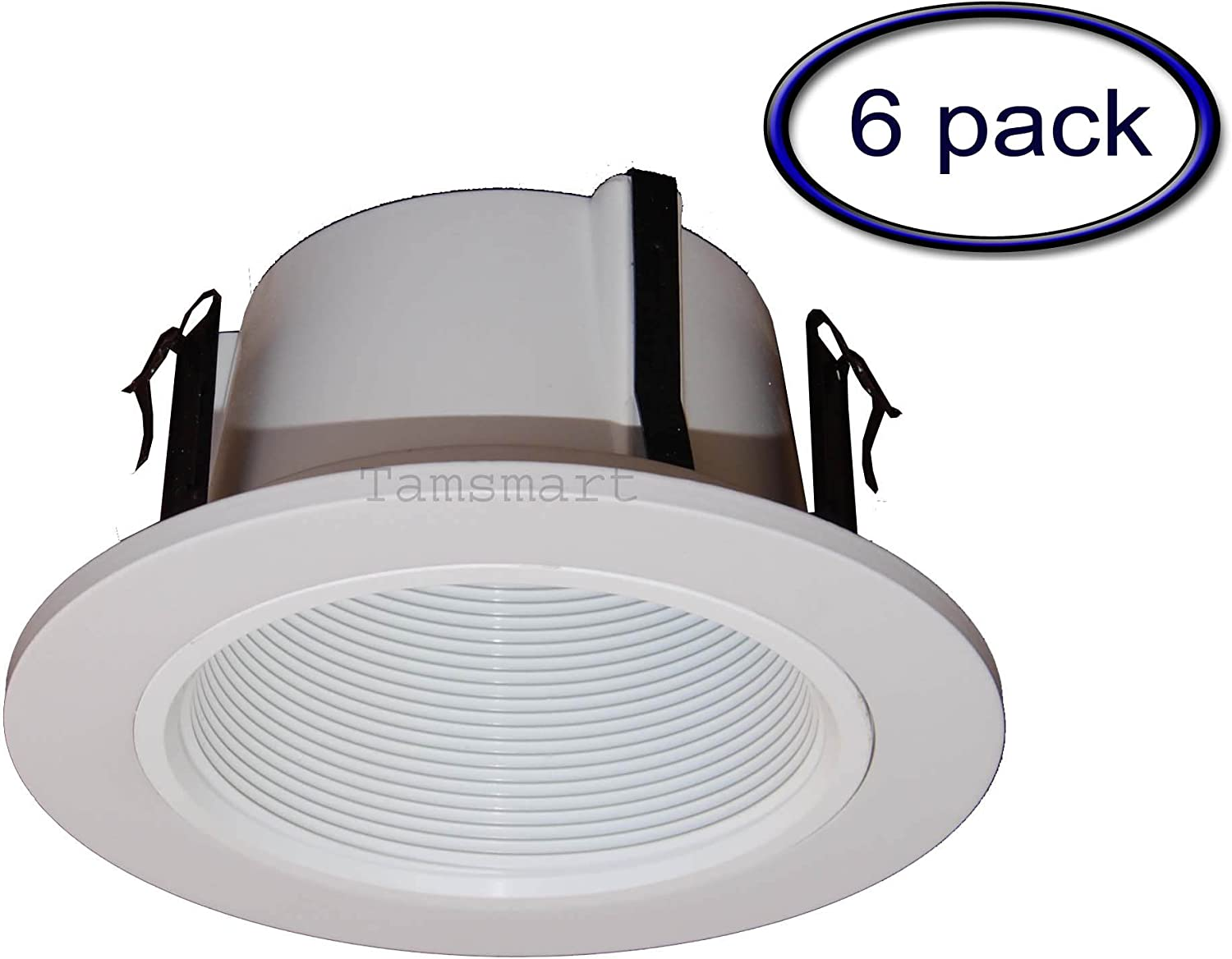 4 Inches Line Voltage Phenolic Stepped Baffle Trim/trims for Recessed Light/lighting-white Replaces Halo 993W (6 Pack)
